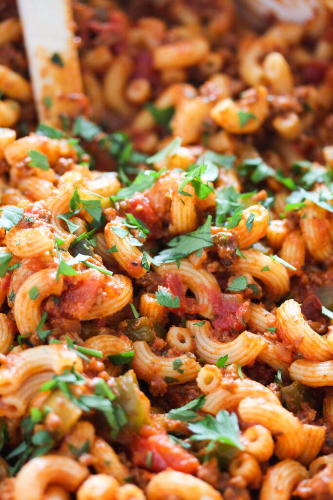 close up of macaroni and meat sauce.
