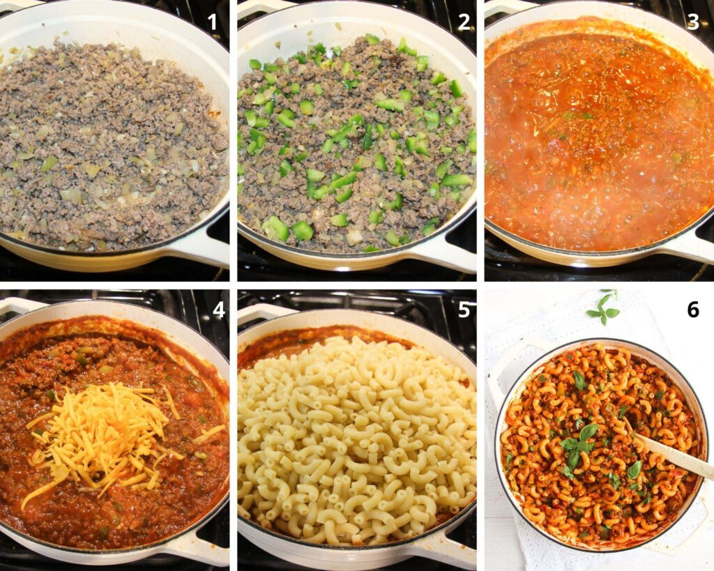 Collage of six pictures of making Macaroni and Beef or American Chop Suey .