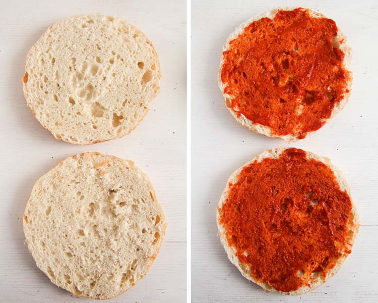 collage of two pictures of split turkish bread smeared with tomato sauce.