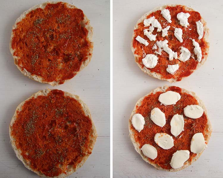collage of two pictures of topping flatbread with tomato sauce and mozzarella.