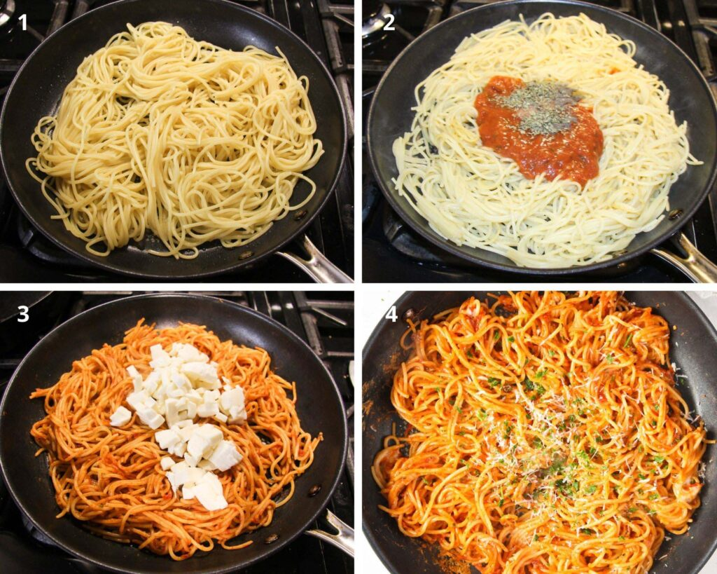 4 easy steps on how to make the fried spaghetti