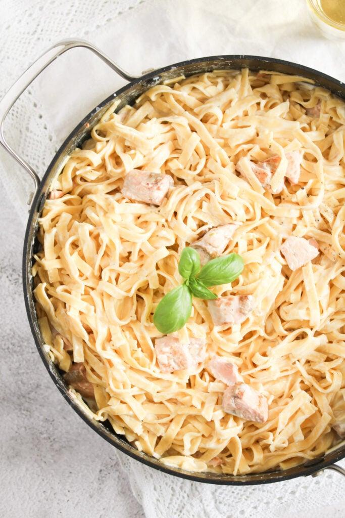 pot full of Crème Fraiche Salmon Pasta overhead view.