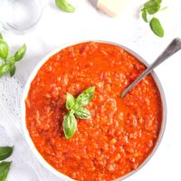 chunky tomato sauce for pasta and pizza in a bowl.