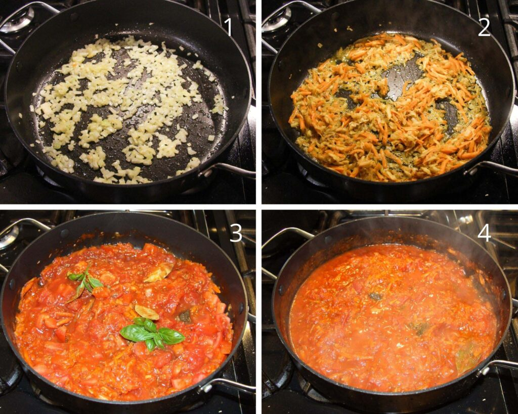 collage of four pictures of frying onions, vegetables and making tomato sauce with basil.
