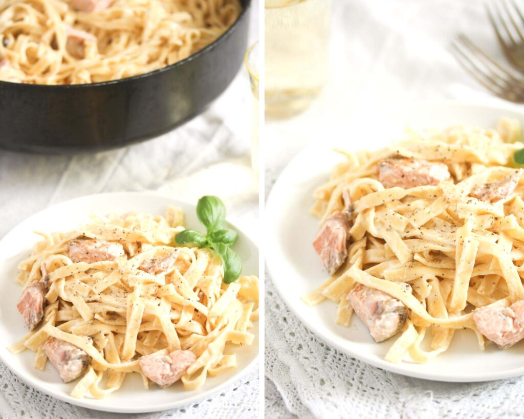 collage of two pictures of lemon creme fraiche salmon pasta.