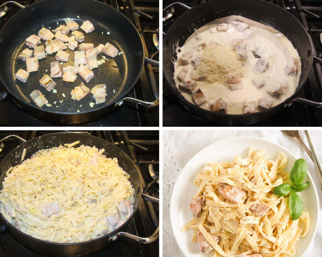 collage of four pictures of making noodles with salmon.