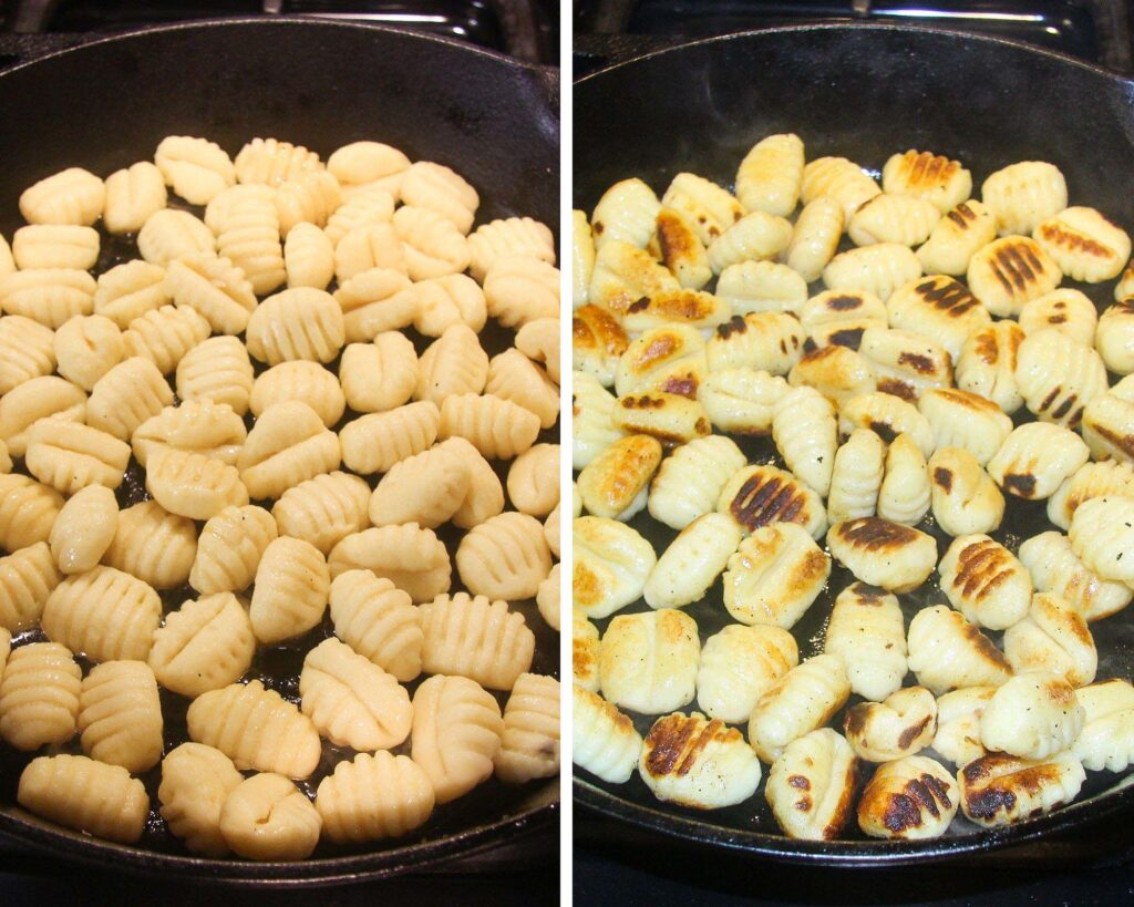 collage of two pictures of frying gnocchi in a pan.