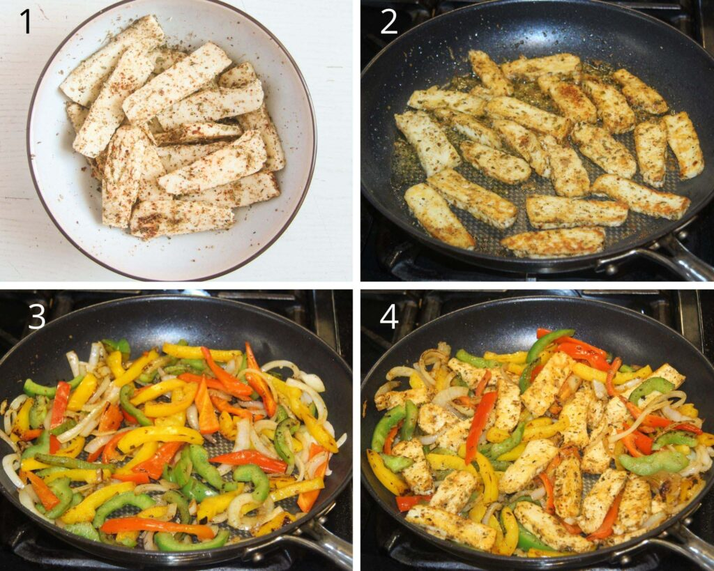 collage of four pictures of halloumi strips in a bowl, then fried in a pan. Frying peppers and onions and adding the cheese.