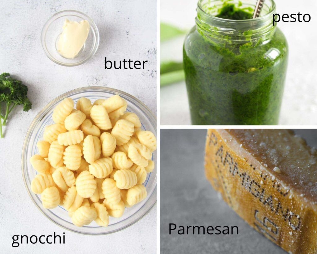 bowl of uncooked gnocchi, butter, pesto, parmesan on the table.