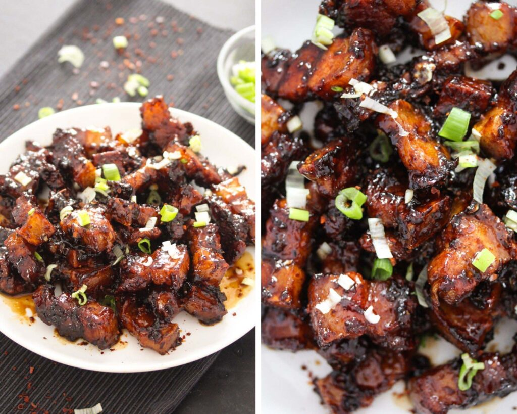 collage of two pictures of pan fried pork belly cubes on a white plate sprinkled with green onions.