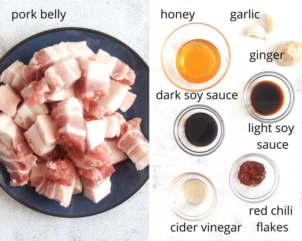 collage of two pictures of raw pork cubes and the ingredients for the sauce in bowls.