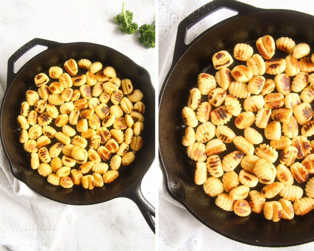 collage of two pictures of a cast-iron pan with seared gnocchi.