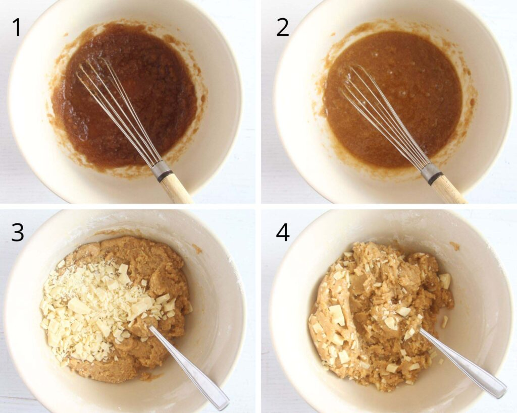 collage of four pictures of stirring batter with a small whisk.