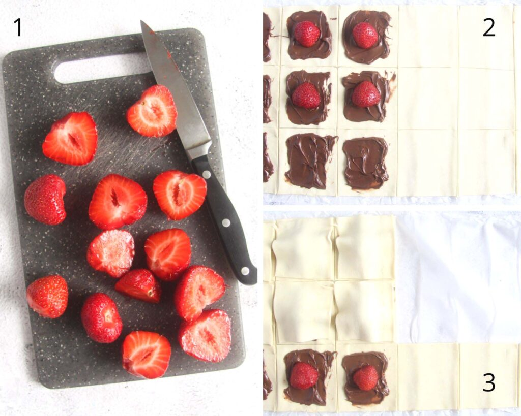 collage of two images of halved strawberries and filling puff pastry with nutella and berries.