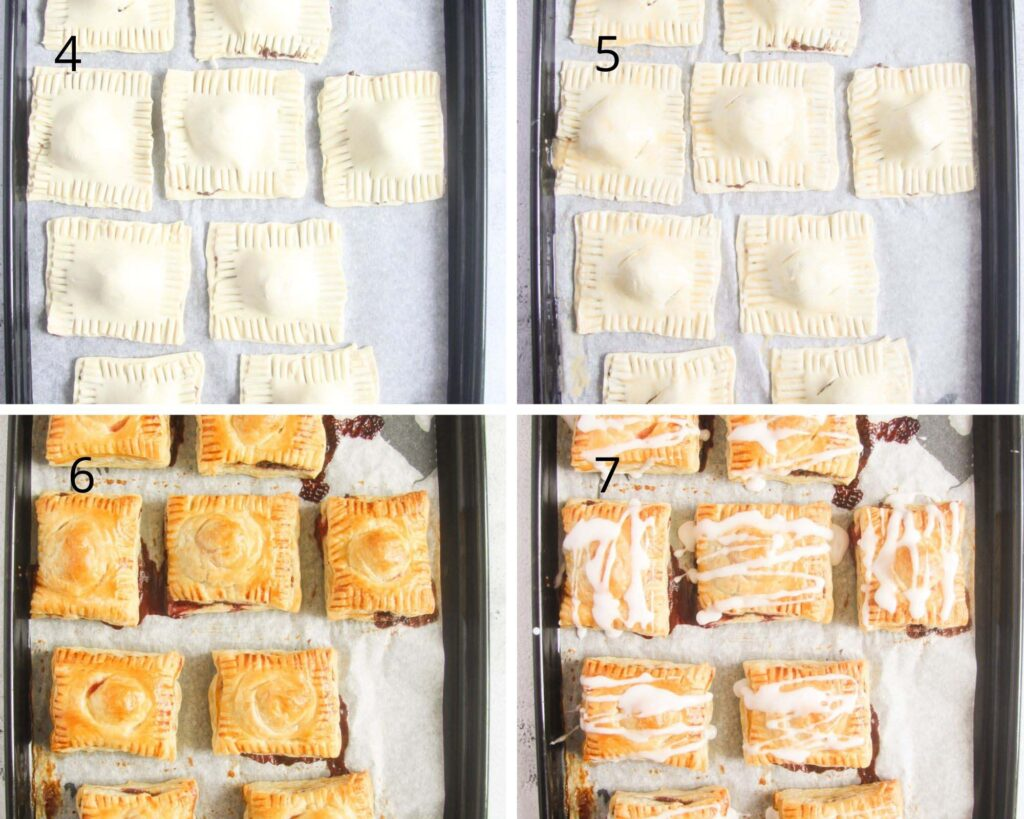 collage of four pictures showing turnovers on a tray before and after baking and glazing.