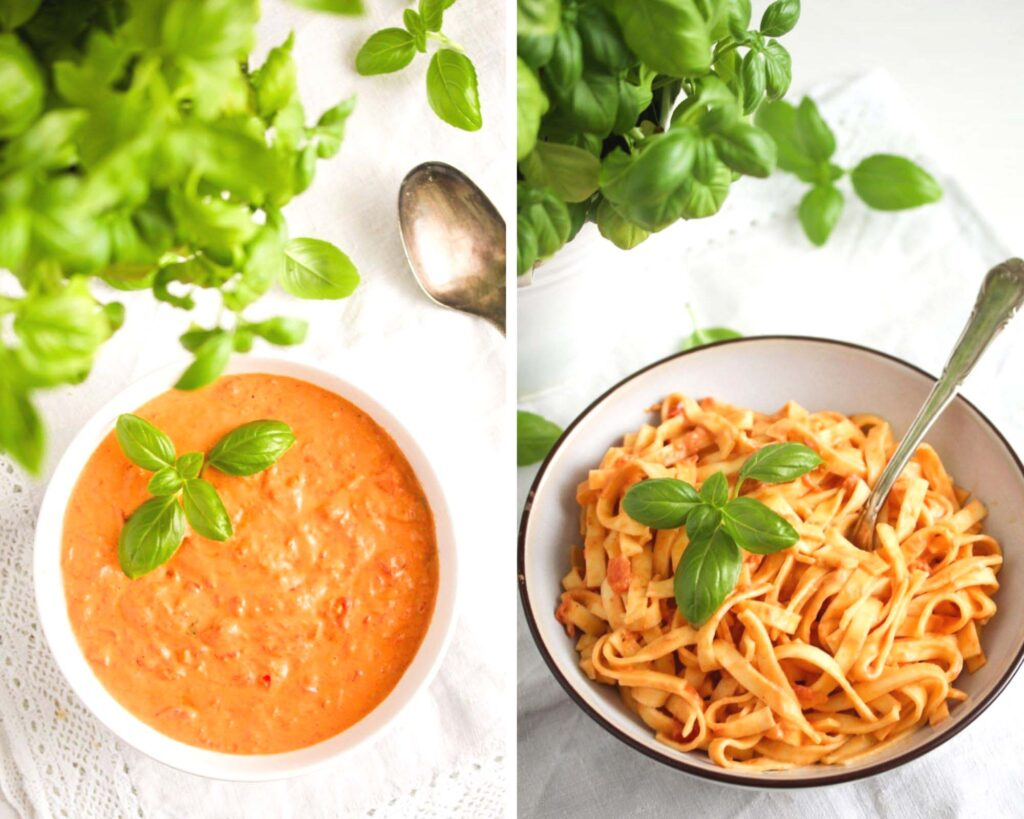 collage of two pictures of sauce in a bowl and then mixed with tagliatelle in another bowl.
