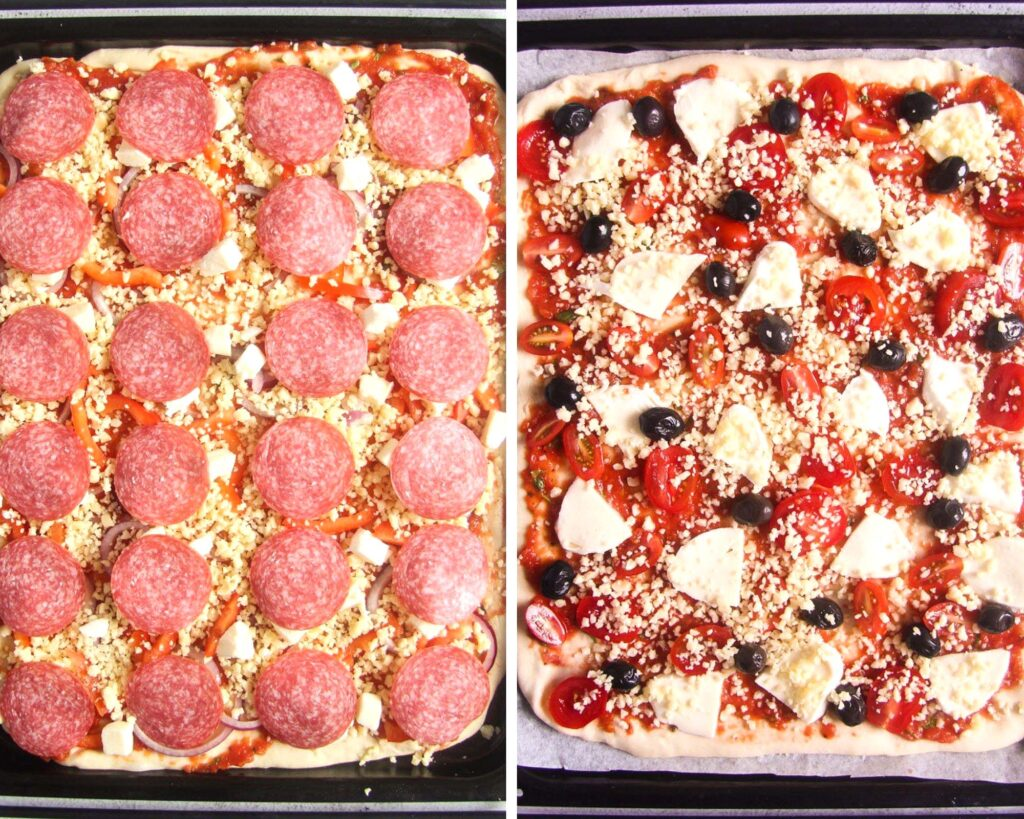 collage of two pictures of uncooked pizza.