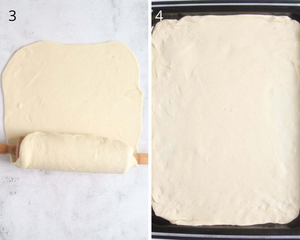 collage of two pictures of transferring dough to a baking tray.