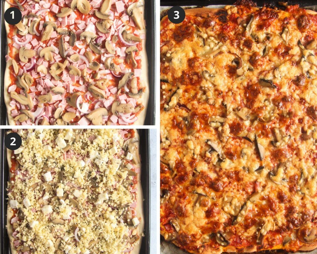 collage of three pictures of topping and baking pizza with ham.