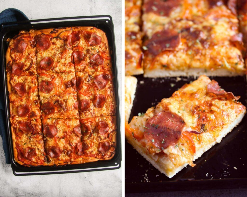 collage of two pictures of pizza on a sheet pan, whole and then sliced.