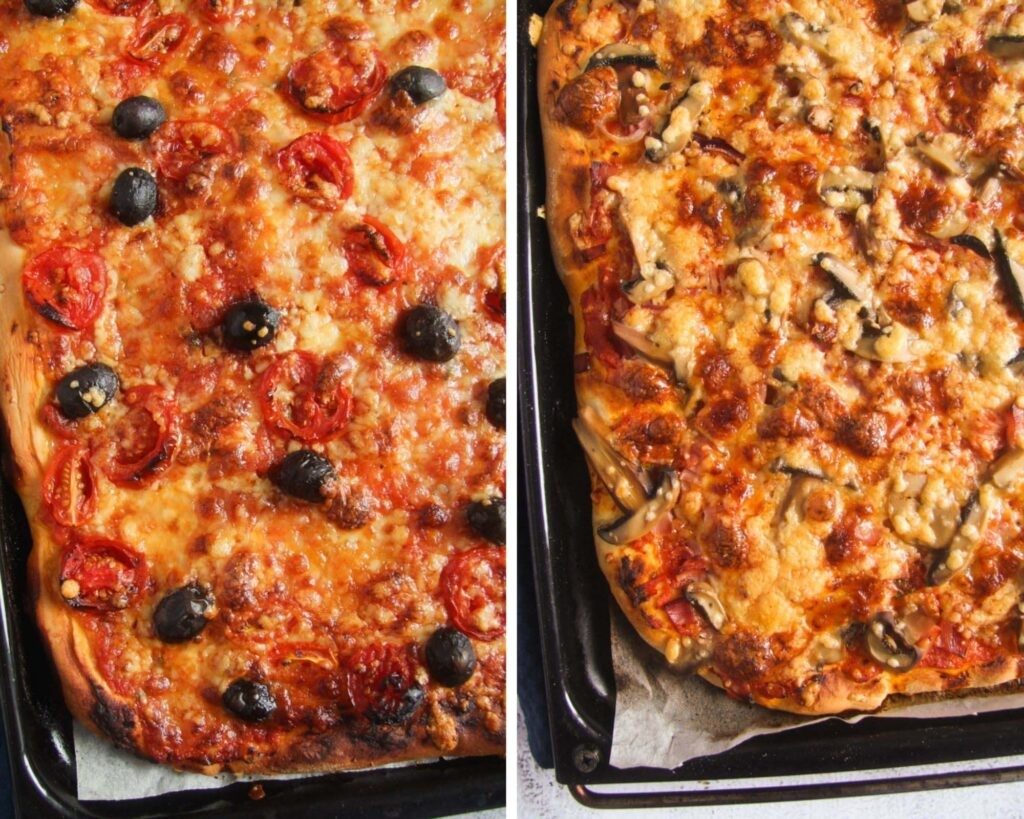 collage of two pizzas, one with olives and tomatoes, one with ham and mushrooms.