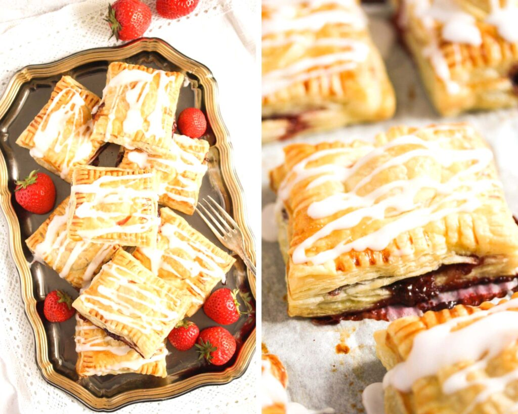 collage of two pictures of strawberry turnovers glazed with lemon icing.