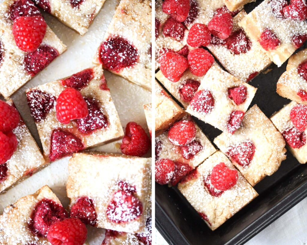 collage of two pictures of blondies with raspberries.