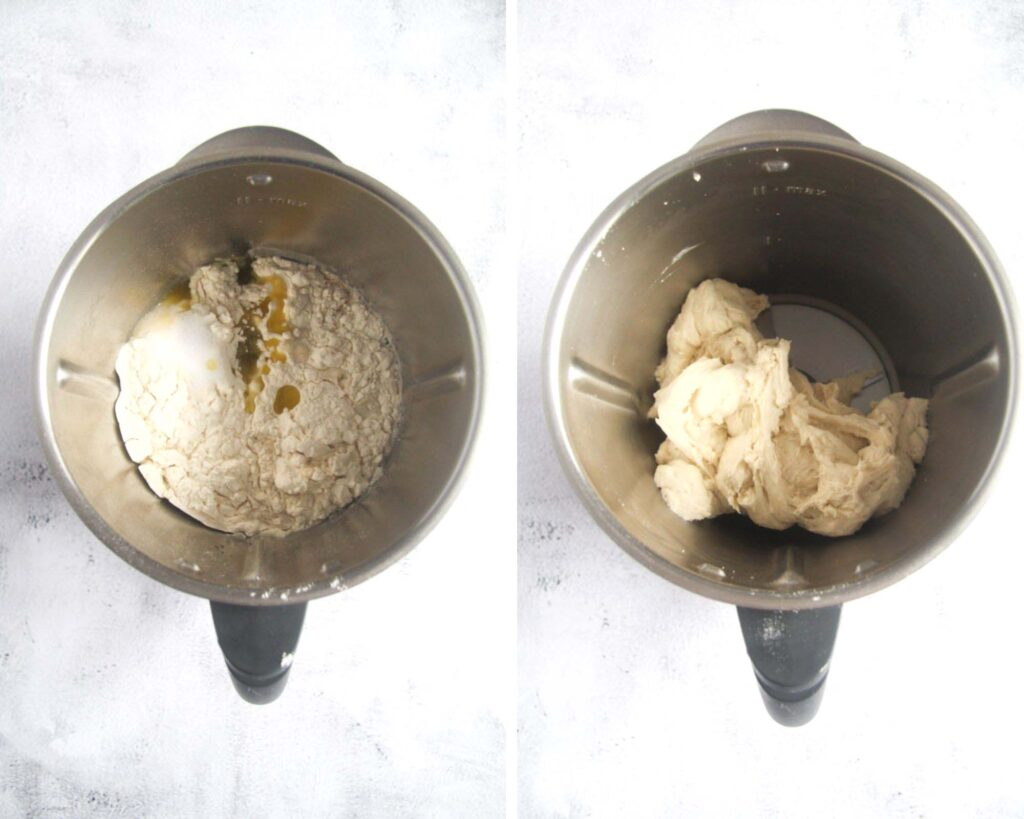 collage of two pictures of making dough in a thermomix.