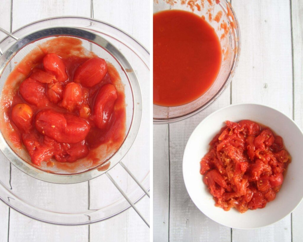 collage of two pictures of straining tomatoes in a sieve and then showing the sauce and tomatoes in separate bowls.