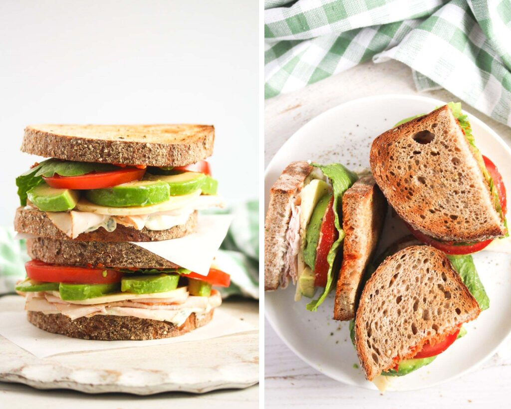 collage of two pictures of two stapled sandwiches and then cut in half on a plate.