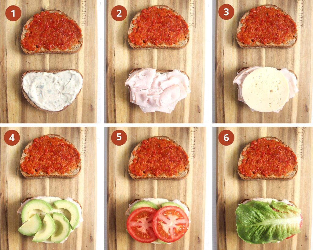 collage of six pictures of building a sandwich step by step.