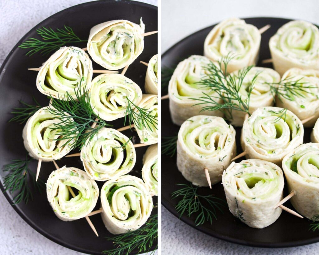 collage of two pictures of black plate with cucumber cream cheese appetizers.