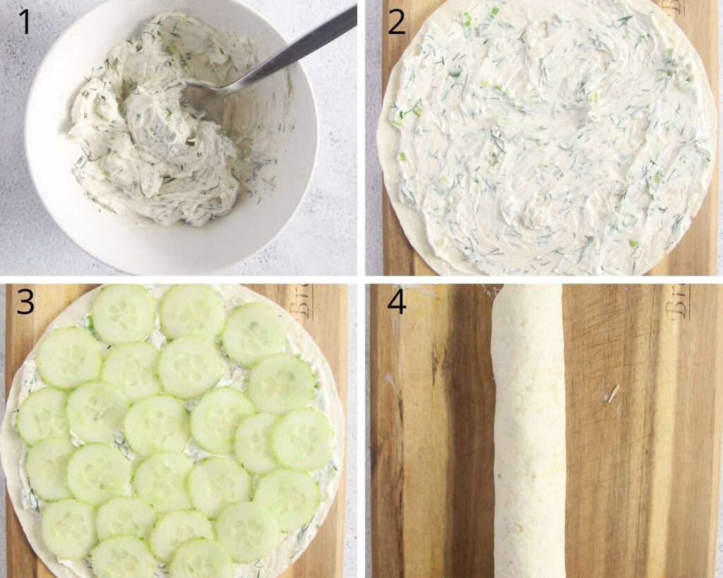 collageof four pictures of a bowl of cream cheese, filling and rolling a tortilla with cucumbers.