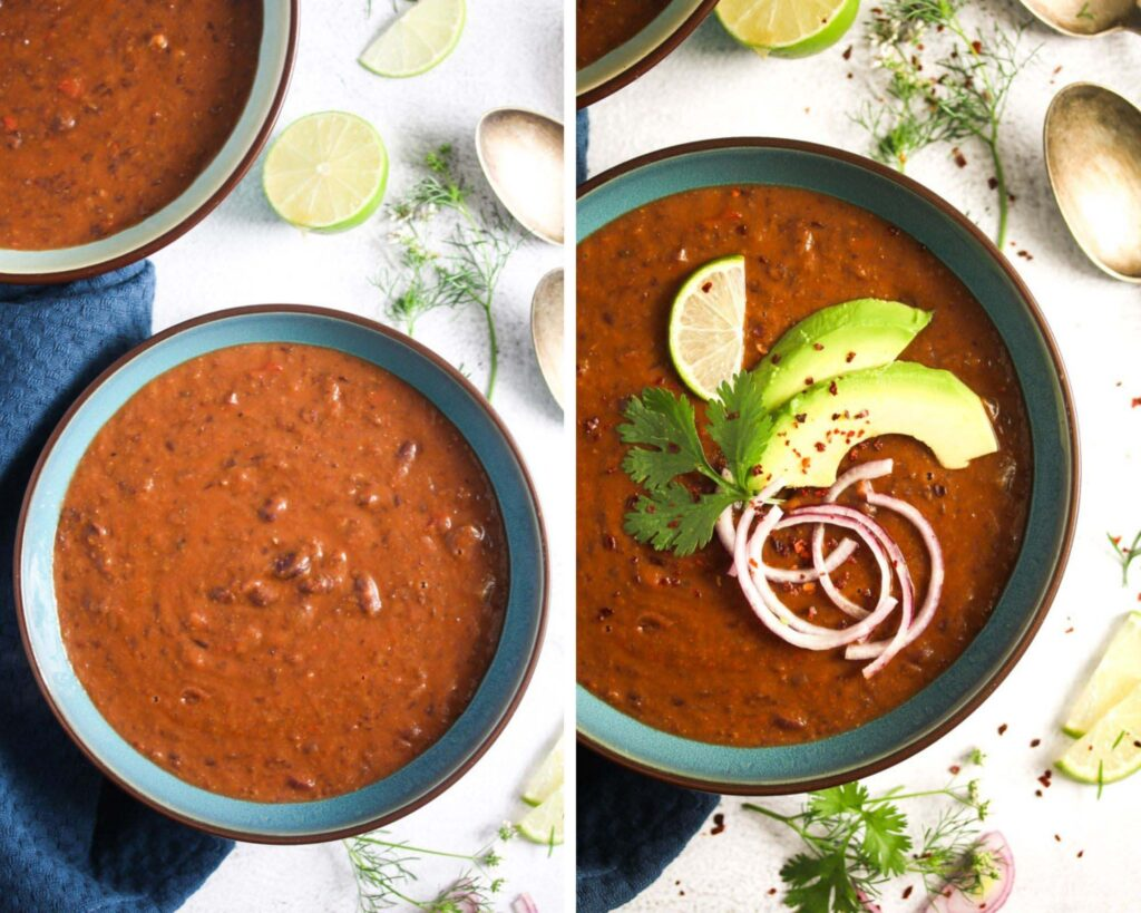 collage of two pictures of bean soup before and after garnishing.