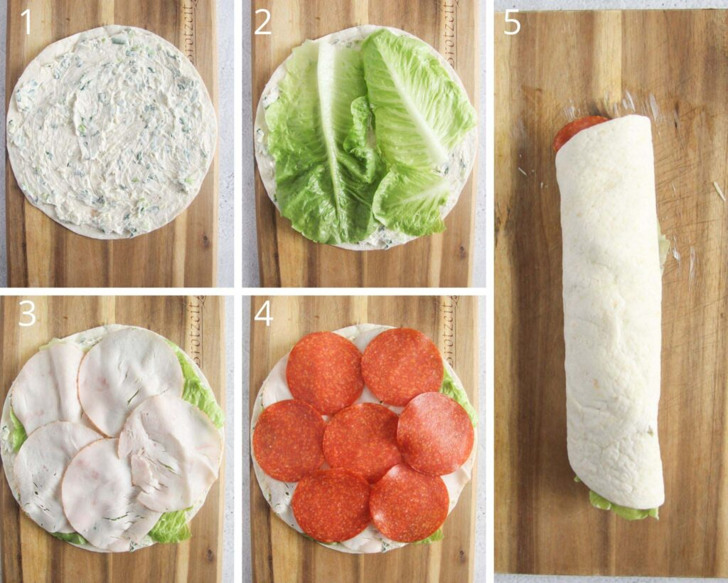 collage of five pictures of filling tortillas to make bite-sized appertizers.