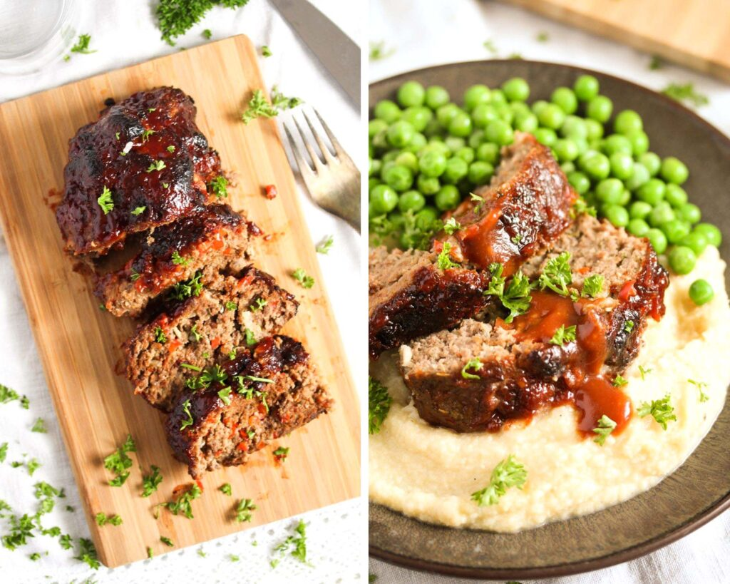 collage of two pictures of sliced meatloaf on a wooden board and served with peas on a plate.