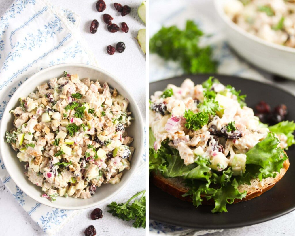 collage of two pictures of poultry salad in a bowl and then on a slice of bread.