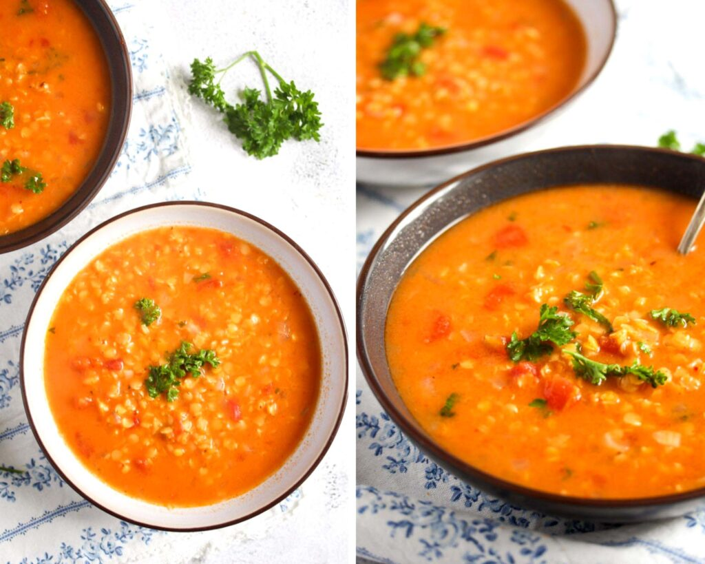 collage of two pictures of red soup in bowls.