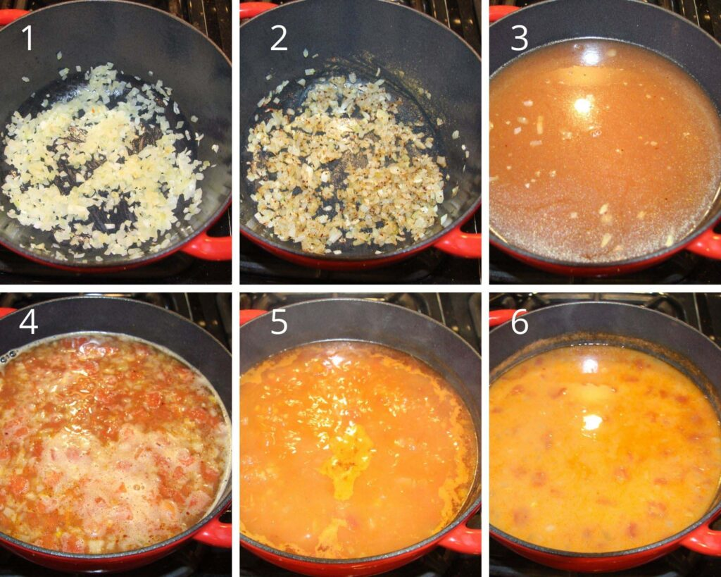 collage of six pictures of frying onions and spices, adding tomatoes, stock and pulses for making soup.