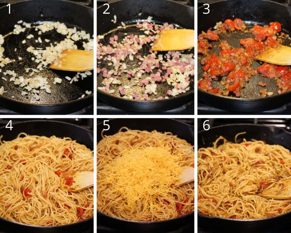 collage of six pictures of frying onions, bacon, tomatoes, pasta and cheese in a cast iron skillet.