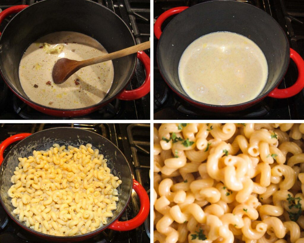 collage of four pictures of making cheese sauce for pasta.