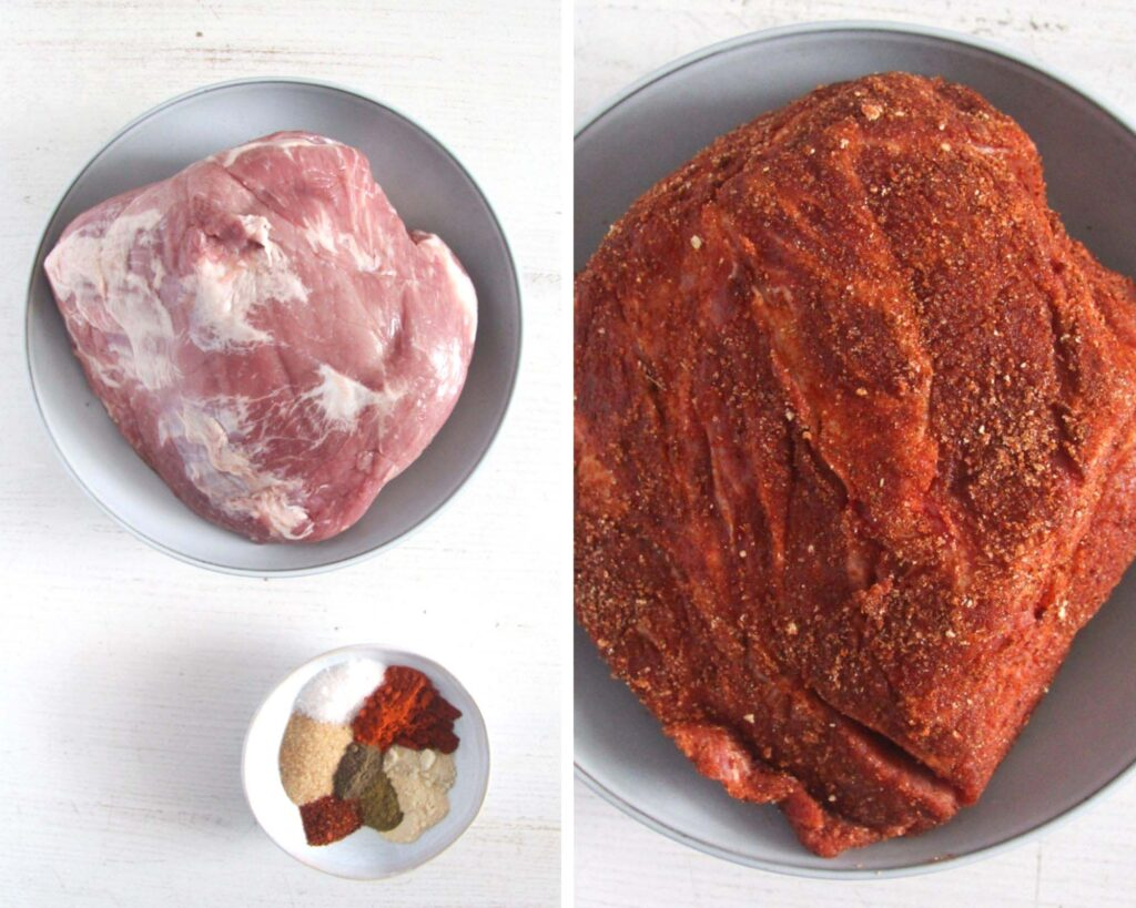 collage of two pictures of raw meat and spices and the meat coated in spices.