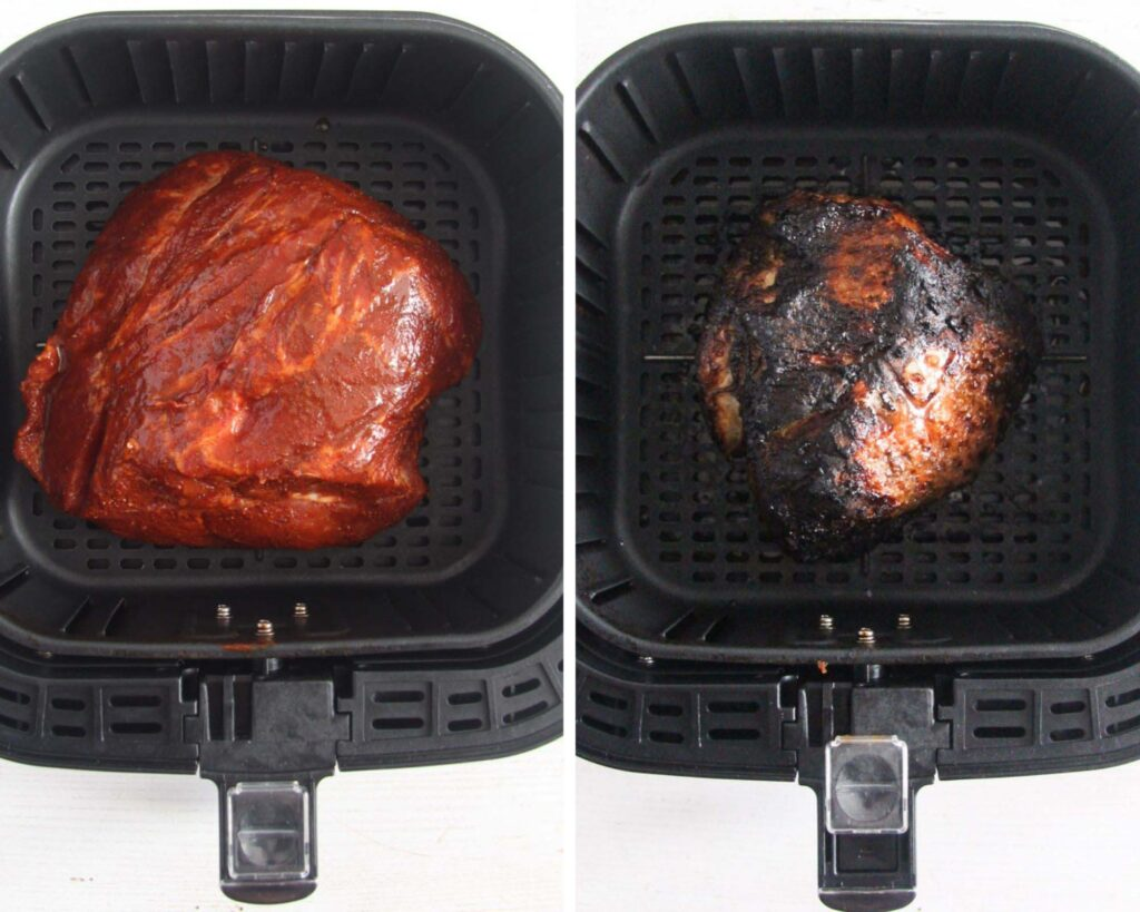 collage of two pictures of large spiced piece of meat in the basket of the air fryer.