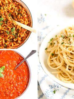 collage of three pictures of american chop suey, marinara sauce and tuna spaghetti.