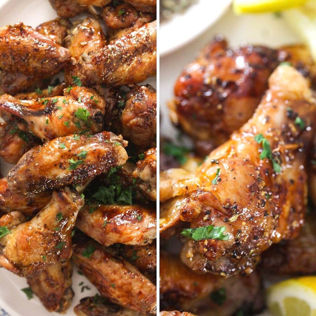collage of two pictures of party wings for game day.