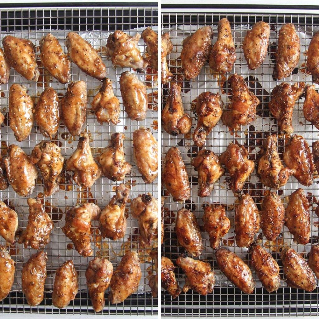 collage of two pictures of chicken wings on a rack before and after glazing.